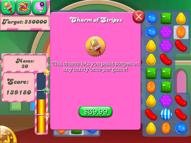 Candy Crush Purchase Screen